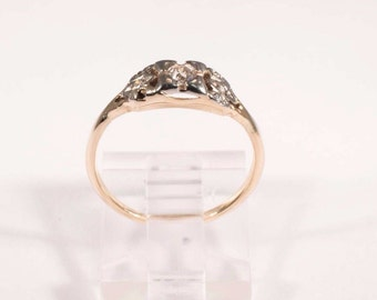 14K Yellow Gold 1920s Diamond Ring with .25 ct. Center Stone, size 6.5