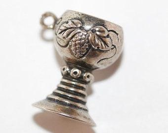 Vintage Wine Goblet Chalice Cup 800 Silver Bracelet Charm / Flower Detail 4.2g