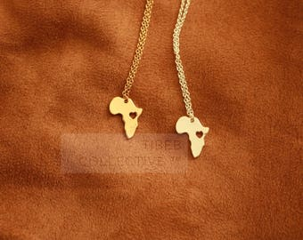 Africa • Ethiopia Silhouette Map Necklace • Gold • Silver
