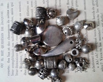 set of 15 assortment of beads plated metal beads