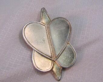 Modernist Nava Segev, 1993 Interlocking Heart Brooch/Pendant