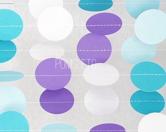 White and aqua, turquoise , purple Circle Dot Garland, mermaid , frozen, themes