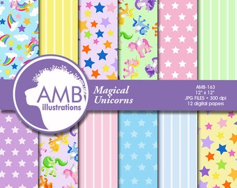 Unicorn digital papers, Magical Unicorn scrapbook papers, Stars papers, lined papers, pony papers, pastel papers, AMB-163