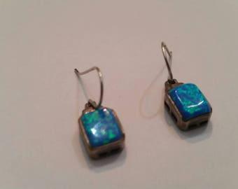Blue Fire Opal Sterling Earrings