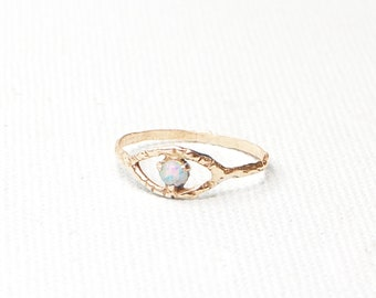 EVIL EYE RING: Protection Unique Alternative Dainty Ethical Vintage Talisman October Libra Scorpio Birthstone Anniversary Solid Gold 14K
