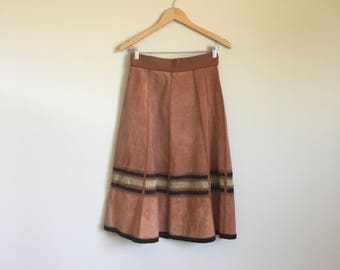 1970's Suede and Crochet Panel Skirt
