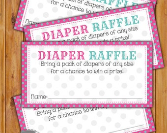 Diaper Raffle Card for Baby Shower Pink teal Dots Invitation Inserts Printable PDF--Instant Download