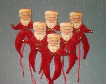 Vintage Style Feather Tree Santa Claus Ornaments