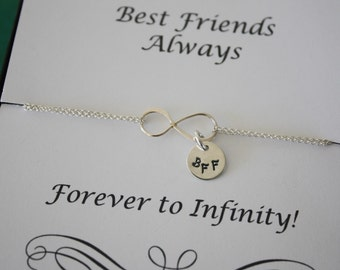 8 Bridesmaid Infinity Bracelets, Best Friend,Infinity Jewelry, Gift, Friendship Card, Bridesmaid, Tiny Sterling Silver BFF Charm