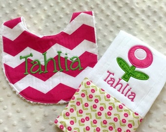 Baby Girl Personalized 2 Piece Gift Set  - Bib and Burp Cloth-Modern Tulip