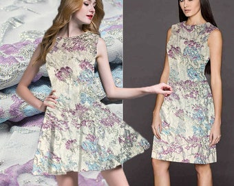 Elegant Jacquard Fabric By The Yard Flower Fabric Floral Fabric Women Dress Fabric Fashion Clothing Fabric Gown Fabric Skirt Fabric-TH489