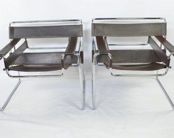 Early Reproduction Pair of Wassily Chairs by Marcel Breuer