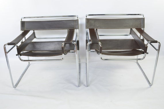 Superior Early Reproduction Pair Of Wassily Chairs By Marcel Breuer