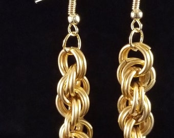 Double Spiral Chain maille Earrings,  Brass