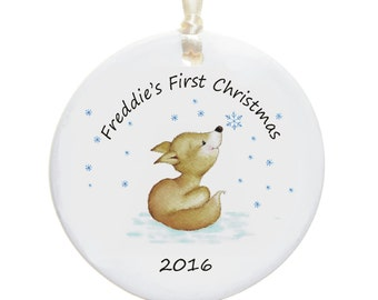 Baby's First Christmas Personalised Ornament - New Baby - Ceramic Christmas Tree Decoration - Holiday Bauble