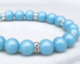 Sleeping Beauty Turquoise Bracelet, Swarovski Pearls, Rhinestones, Sterling Silver Teal Jewelry, December Birthstone Birthday Gift, Handmade