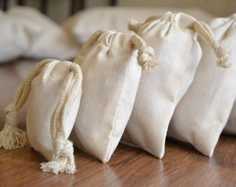 2 x 3  inches Cotton double drawstring Muslin Bags (Natural Colour)