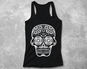 Sugar Skull Tank Top Women Fitted Tank Racerback  day of the dead Hand screen printed design screenprint shirt - XS S M L