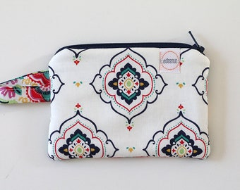 coin purse, pocket wallet, change purse, mini zipper pouch, earbud pouch, business card holder, Navy Blue Festive, id holder, small bag