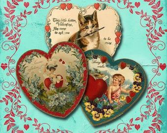 Vintage Valentine Heart Collage Sheet 1