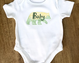 Baby Bear Embroidered Baby Grow
