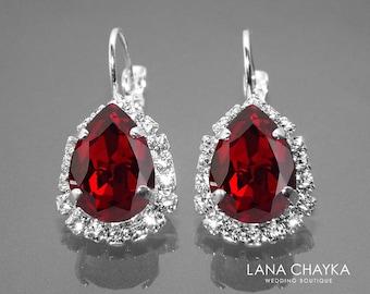 Red Crystal Halo Earrings, Swarovski Siam Red Rhinestone Silver Earrings, Red Leverback Earrings, Wedding Jewelry, Mother of the Bride Gift