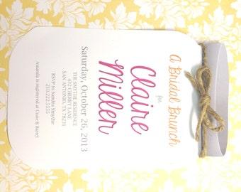 Mason Jar Shower Invitation Pink and Yellow