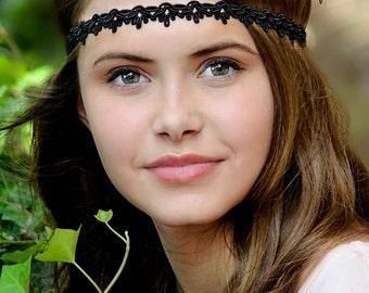 Black Boho Headband - Adult Boho Headband - Bohemian Headband - Boho - Bohemian - Forehead Headband - Hippie Headband - Black Headband