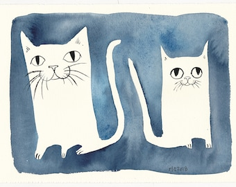 Two Blue Cats / An Original Pet Watercolor Painting