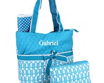 Monogram Quilted Arrow Turquoise Diaper Bag