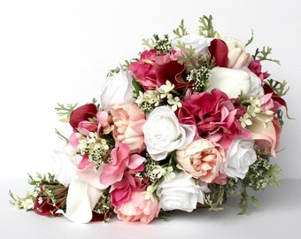 Pink Cascading Wedding Bouquet , Pink and Mint Wedding Bouquet , Cascading Blush and Fuchsia Pink Real to Touch Peonies Bridal Bouquet