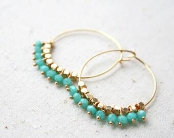 Boho Hoop Earring, Boho Earrings, Bohemian Jewelry, Beaded Hoop Earrings