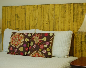 Yellow Weathered Look - King Hanger Headboard with Vertical Boards. Mounts on wall. Adjust height to your convenience. Easy installation.
