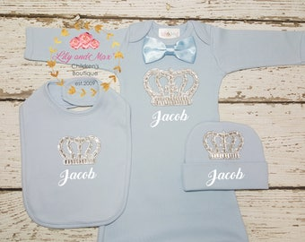 Coming home baby Boy Outfit Set, Baby shower gift for boys, boys baby shower, rhinestone crown baby boy gown, personalized baby boy gift