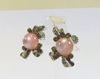 Pink Thermoset Screw Back Earrings Signed Coro, Approx 1960s Vintage Pink Moonglow Effect Crystal Rhinestone Screw Back Non Pierced Earrings