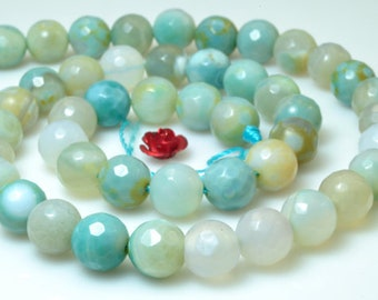 Green Agate faceted Round beads in 8mm 12pcs