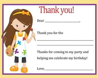 Painting Birthday Thank You Card (Girl)  Digital file - You print / Painting Thank You Card / Paint Party/ Painting Party Thank You