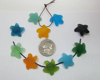 Simulated Sea Glass Starfish Pendants 2pc 22mm