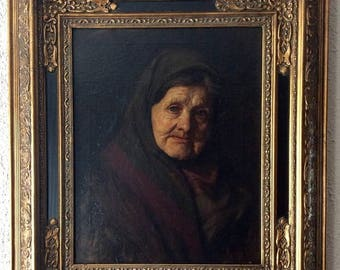 Sale Antique Dutch Old Master Oil Painting Flemish Portrait of Elder Woman O/C European Genre Art Signed Framed Style of Rembrandt