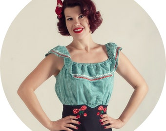 Green Gingham Peasant Blouse Rockabilly Pin Up Ruffle Top 1940s Style by BlancheOfArts