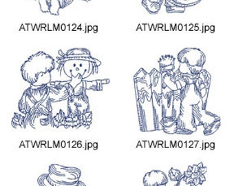 Boys-in-The-Country  ( 10 Machine Embroidery Designs from ATW ) redwork. XYZ17E