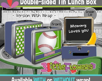 Personalized Baseball Lunchbox - Personalized Metal Lunch Box Chalkboard inside - Double-sided Tin Lunch Box - Personalized Sports Lunch Box