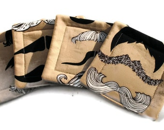 Handmade Quilted  Coasters set of 4 Mustaches