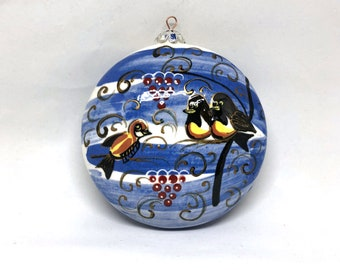 Birds on Bench Hand Painted Christmas Ornament