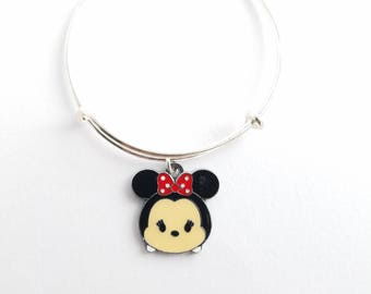 Minnie Tsum Tsum charm on a silver plated bangle bracelet - birthday - gift - child - adult