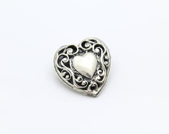 Vintage Heart Brooch by Beau With Antique Finish in Sterling Silver. [8772]