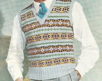 INStANT DOWNLOAD- Vintage Visage knitting pattern-mans fair isle pullover pdf email delivery
