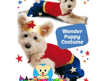 Wonder Puppy Costume for Dog, Wonder Woman Costume, Printable Kit, Make it yourself, Puppy Costume for Halloween, Offer 2x1, Free shipping.