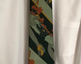 Vintage 1970s Golden Clasp Tie by Prince Consort - great shape, nice pattern and colors! 54 inch x 4 inch