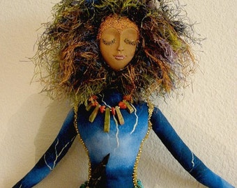 "Art Doll Spirit-Erzulie Dantor  20"" Tall  (Made By Request)"